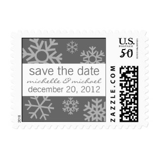 Multiple Snowflakes Save The Date Postage (Gray)