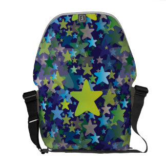 Multiple Stars Night Sky Pattern in Blue and Green Courier Bag