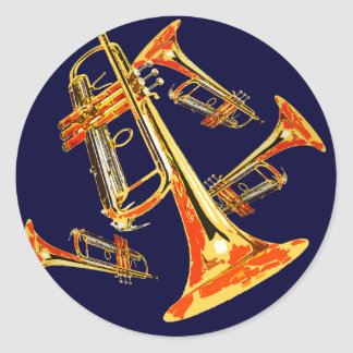 Multiple Trumpets Classic Round Sticker