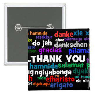 Multiple Ways to Say Thank You in Many Languages 2 Inch Square Button