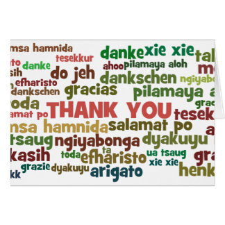 Multiple Ways to Say Thank You in Many Languages Card