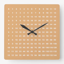 Multiplication Table 12x12 Math Fun Game (Apricot) Square Wall Clock