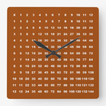 Multiplication Table 12x12 Math Fun Game (Brown) Square Wall Clock