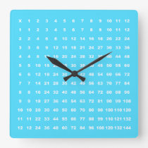 Multiplication Table 12x12 Math Fun (Light Blue) Square Wall Clock