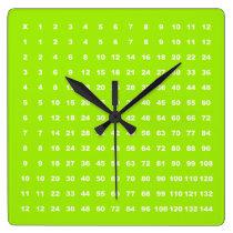 Multiplication Table 12x12 Math Fun (Lime Neon) Square Wall Clock