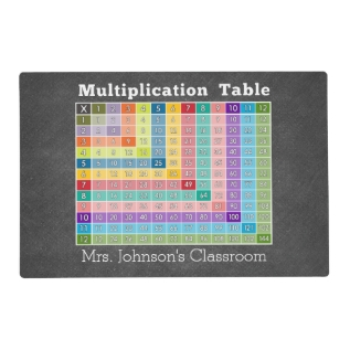 Multiplication Table Classroom Instant Calculator Placemat at Zazzle