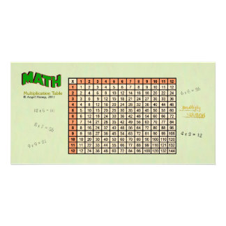 Multiplication Table - custom photo card - orange
