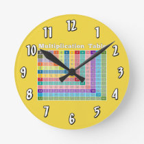 Multiplication Table for Teachers and Math Geeks Round Clock