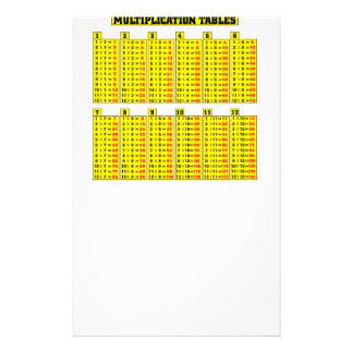 Multiplication tables - math stationery
