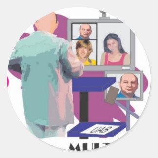 MULTIPONTO teleconferencia multipoint professor Classic Round Sticker