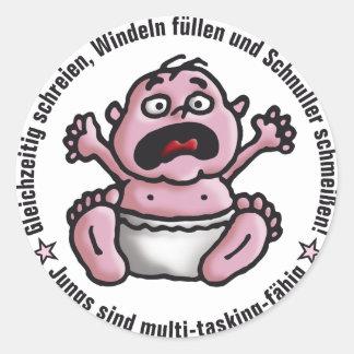 Multitasking bebé pegatina redonda