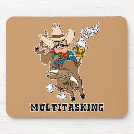 Multitasking Bull Rider Mouse Pad