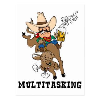 Multitasking Bull Rider Postcard