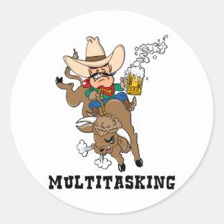 Multitasking Bull Rider Round Stickers