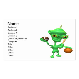 Multitasking Sports Alien Double-Sided Standard Business Cards (Pack Of 100)