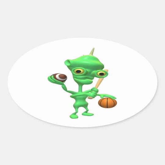 Multitasking Sports Alien Oval Sticker