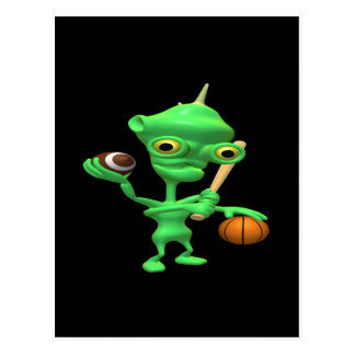Multitasking Sports Alien Postcard