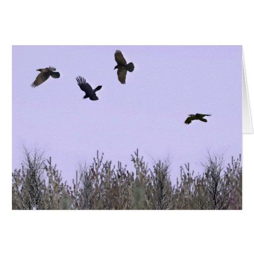 Multitud de cuervos felicitacion