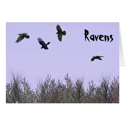 Multitud de cuervos tarjeta