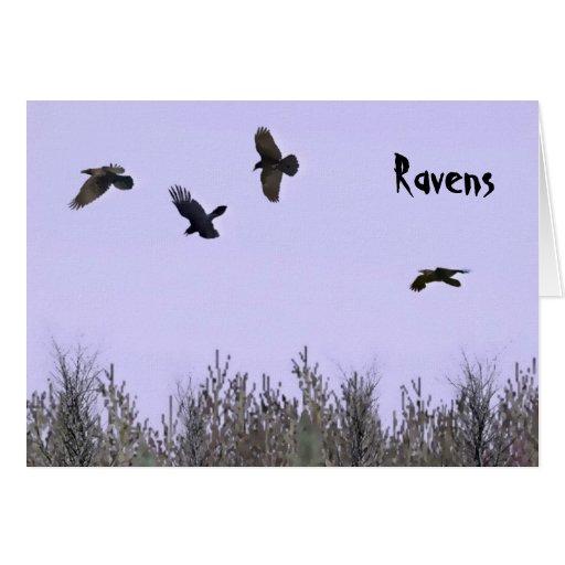 Multitud de cuervos tarjetas