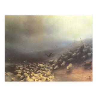 Multitud de Ivan Aivazovsky- de ovejas en el venda Postal