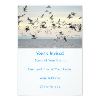 Multitud de la foto de las gaviotas invitación 12,7 x 17,8 cm