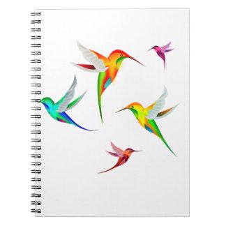 Multitud de los colibríes linda - observación de p libros de apuntes con espiral