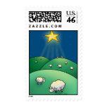 Multitud de ovejas debajo de la estrella del navid