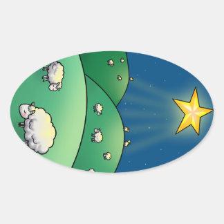 Multitud de ovejas debajo de la estrella del pegatinas oval personalizadas