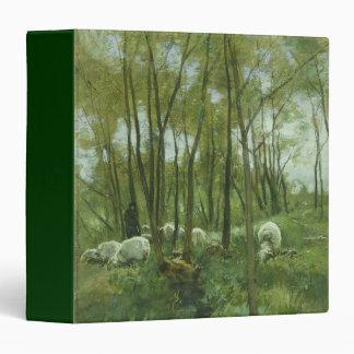 """Multitud de ovejas en un bosque, color de malva de carpeta 1 1/2"""""""