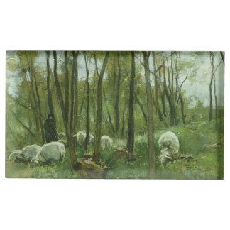 Multitud de ovejas en un bosque, color de malva de soportes para tarjetas de mesa