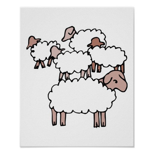 multitud de ovejas póster