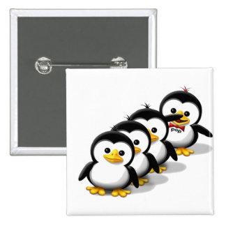 Multitud de pingüinos pin cuadrado