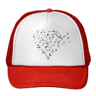 Multitud del corazón del amor de los pájaros gorra
