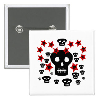 Multitude of Skulls With Weird Stars Pinback Button