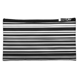 Multitudes of Uneven Black and White Stripes Cosmetic Bag