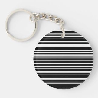 Multitudes of Uneven Black and White Stripes Keychain