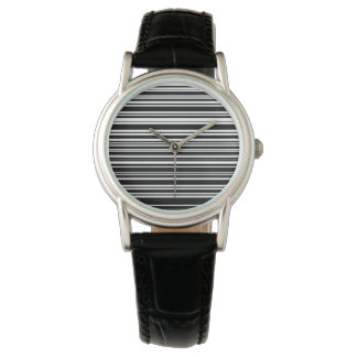 Multitudes of Uneven Black and White Stripes Wrist Watch