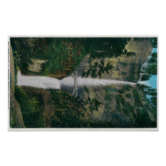 Multnomah Falls and Benson Foot Bridge 2 Poster
