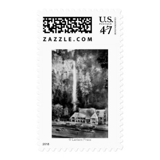 Multnomah Falls and Lodge Photograph Postage Stamp