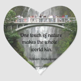 Multnomah Falls and quote about nature. Heart Sticker