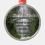 Multnomah Falls and quote about nature. Round Metal Christmas Ornament
