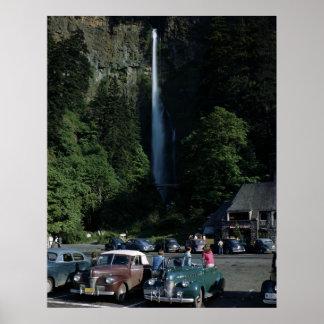 Multnomah Falls, Columbia Gorge, Oregon Vintage Poster