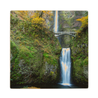 Multnomah Falls In Autumn In The Columbia Gorge Wood Coaster