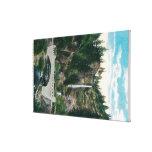 Multnomah Falls with Benson and Highway Bridges Canvas Print