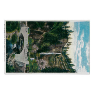 Multnomah Falls with Benson and Highway Bridges Poster
