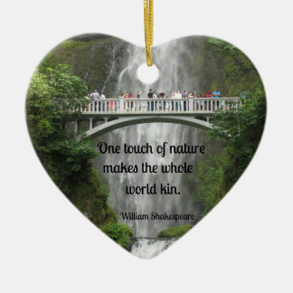 Multnomah Falls with quote by John Muir. Christmas Tree Ornament