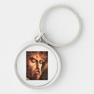 MULTPLE FACES OF JESUS Silver-Colored ROUND KEYCHAIN