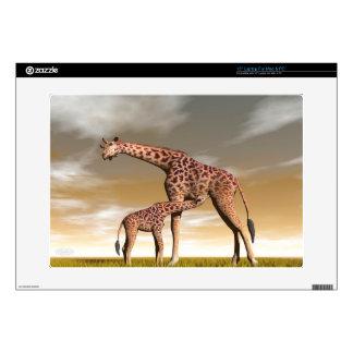 "Mum and baby giraffe - 3D render 15"" Laptop Skin"