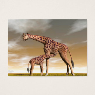 Mum and baby giraffe - 3D render Business Card